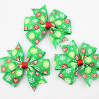 3 inch Ribbon Christmas Hair Bows for Girl and Woman Hair Fashion Boutique Hair Bow with Clip for Girl Christmas Gift 20pcs/lot