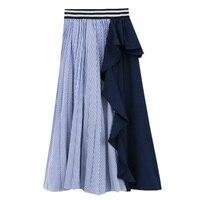 Makuluya Chic Women Vintage Summer Stripe Patchwork Splicing Female Irregular Ruffles Modern Retro Girl Lady Spring Skirts QW