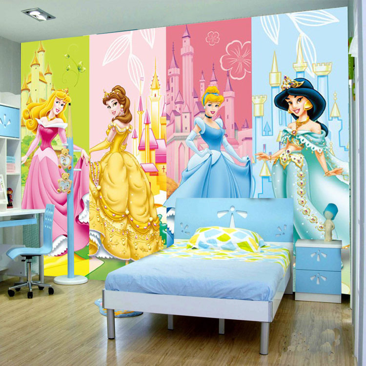 Buy cartoon princesses wallpaper 3d photo for Disney princess wall mural tesco