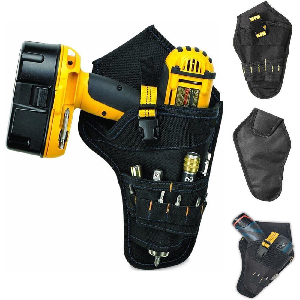 Heavy Duty Drill Drive Holster Cordless Tool Bag Pocket Bit Holder Belt Pouch
