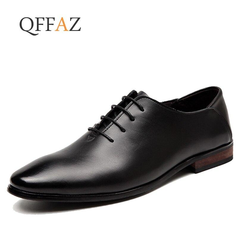 QFFAZ 2018 Men Dress Shoes Simple Style Quality Men Oxford Shoes Lace up Brand Men Formal