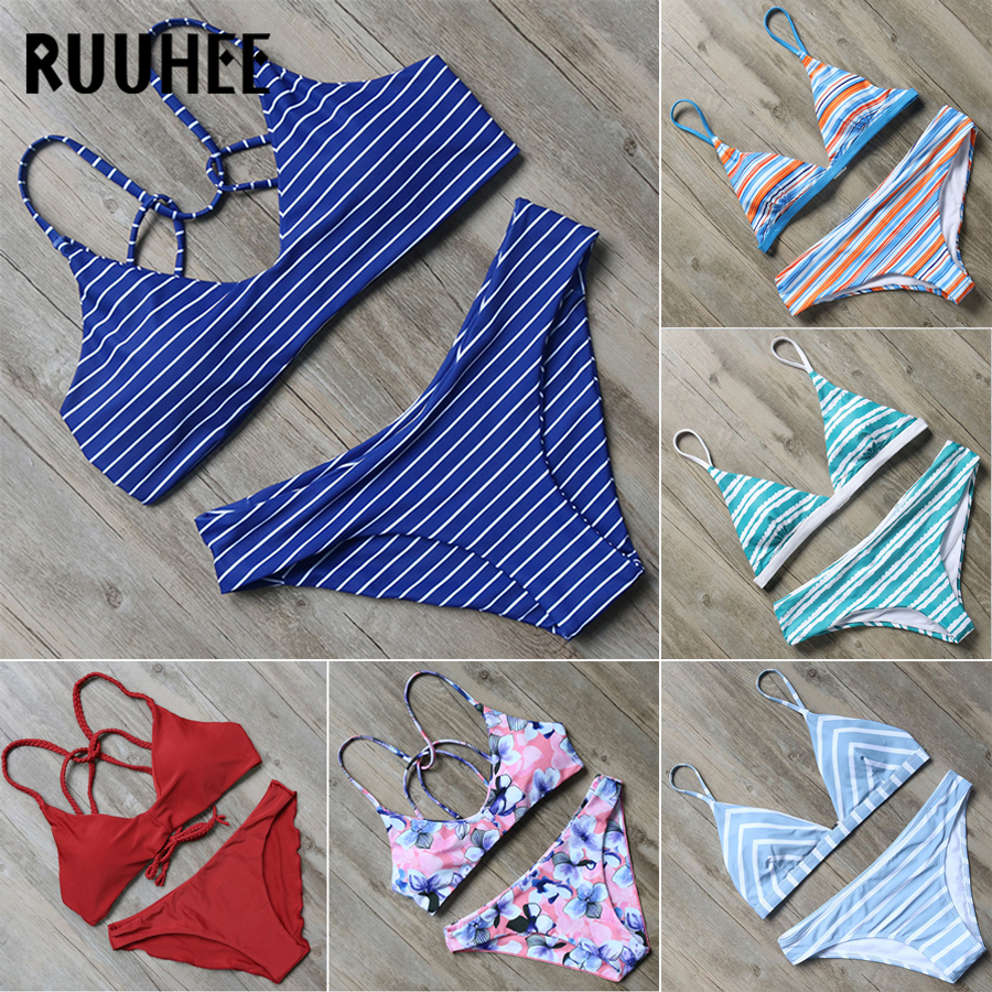 RUUHEE Bikini Swimwear Women Swimsuit 2018 Halter Bathing Suit Brand Beachwear Push Up Maillot De Bain Femme Mid Cut Bikini Set ruuhee sexy halter one piece swimsuit swimwear bodysuit women push up bathing suit monokini maillot de bain femme bikini set