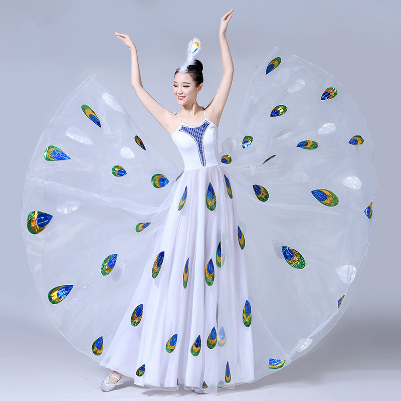 Zorro Kni Ght New Dai Dance Performance Dance Costume Female Adult Performance White Peacock Dance Swing
