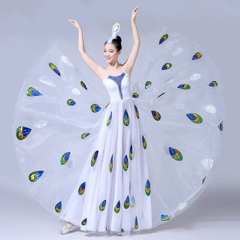 Zorro Kni Ght nouveau Dai danse Performance danse Costume femme adulte Performance blanc paon danse balançoire jupe S-XXL
