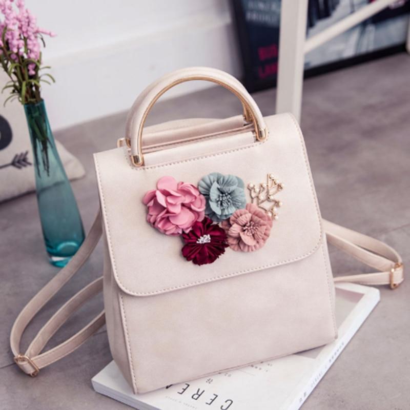 JHD PU Leather Women Backpack Female Style Trend Three-dimensional Flower Shoulder Bag Women's Backpack(Beige)