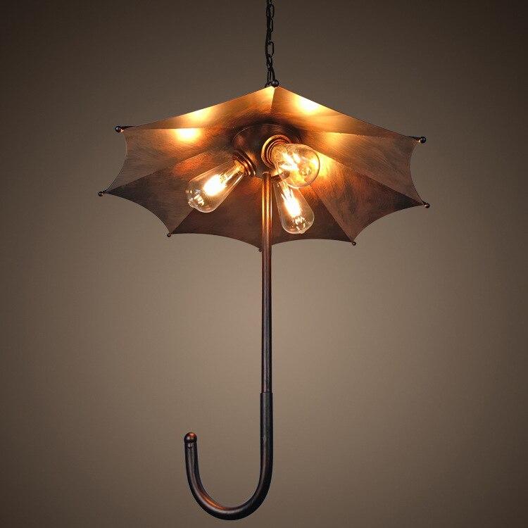 Industrial Rust Pendant Light Creative Rust Hanging Umbrella Lamp 3 Edison Bulbs Pendant Lamp Vintage Retro Metal Droplight one light frosted glass antique rust hanging lantern