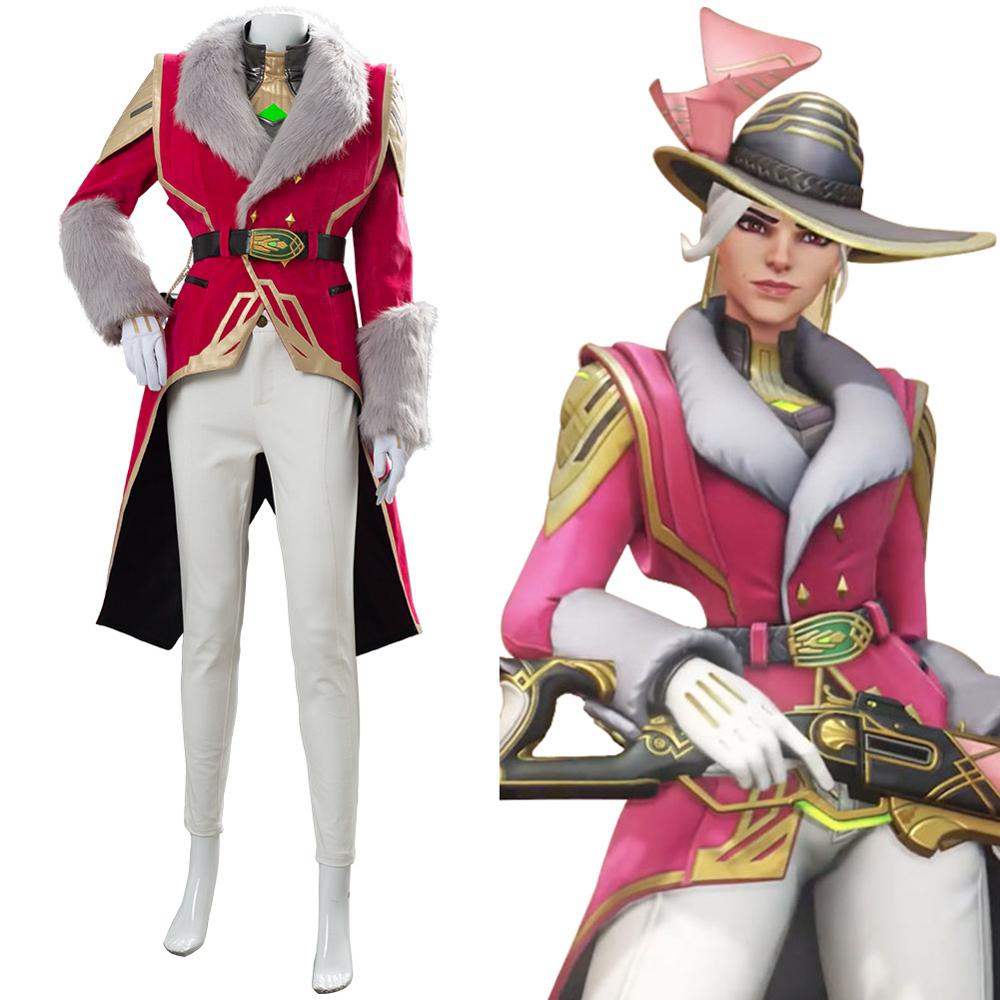 OW Cosplay Ashe Costume Elizabeth Caledonia Cosplay Socialite Skin Outfit Full Suit Adult Women Halloween Carnival Game Costume image