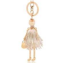 2017 crystal keychains populer jewelry white rhinestone key chains rings tassel keyring women girl jewelry