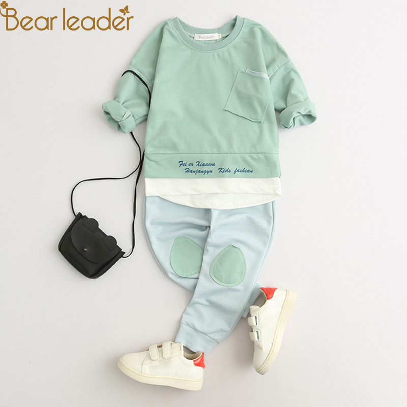 Bear Leader Kids Clothing Sets 2018 Fashion Style Baby Clothing Sets Long Sleeve Patchwork T-shirt+Pants 2Pc Children Clothing baby boys clothing set boy long sleeve t shirt and cowboy autumn winter fashion clothing sets 2017 new arrival hot sell sets