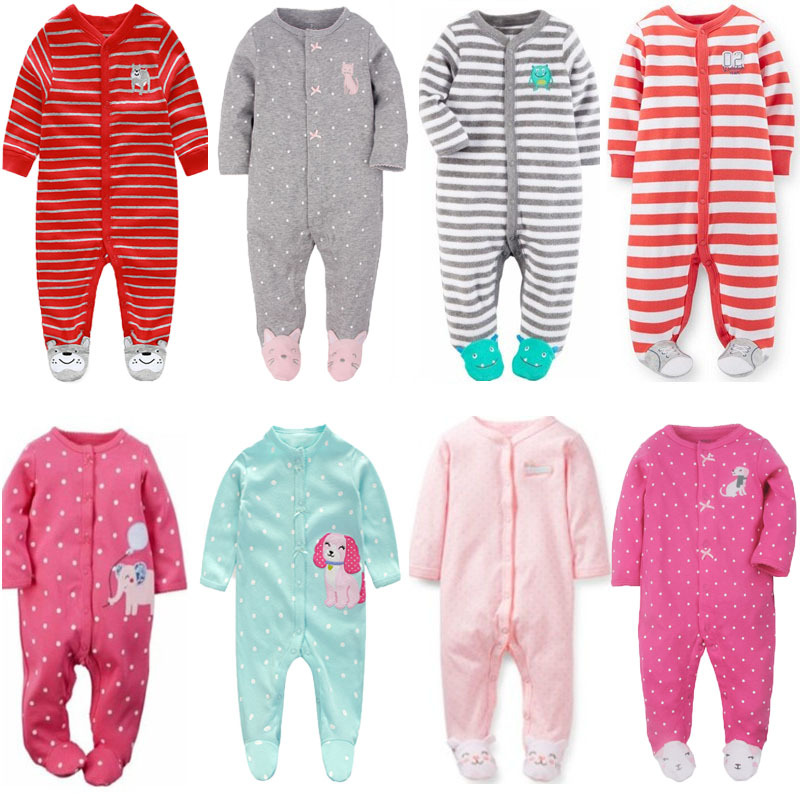 2018 Newborn baby clothes infants baby pajamas overalls jumpsuits bebes climb clothing cotton toddler boys sleep wear bodysuit jd коллекция серый