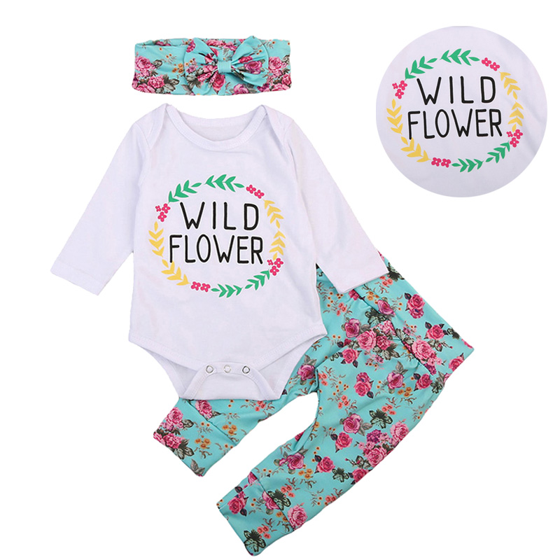 d2c6177444cf Best buy Baby Clothing Sets The flowers print Newborn Baby Girls Clothes  Long Sleeve Romper Jumpsuit Long Pants+scarf 3pc online cheap