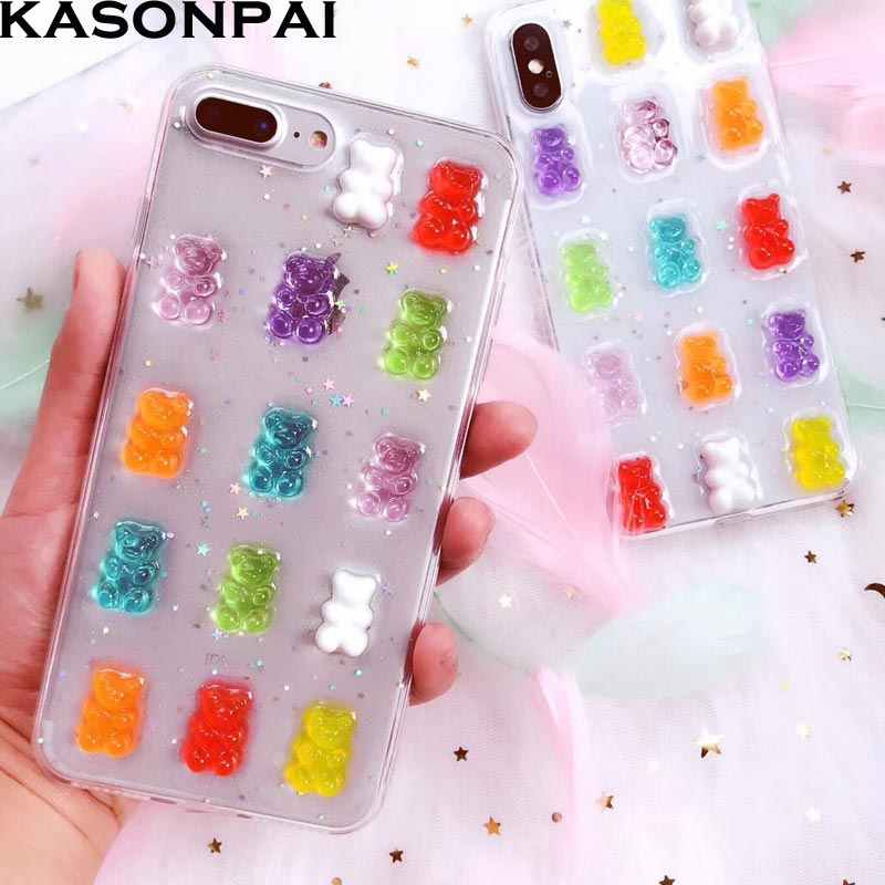 Cute 3D Gummy Bear Candy Color Soft Cases For iPhone 6 6S 7 8 Plus XS Max XR Glitter TPU Cover For iPhone X Cartoon Phone Bags