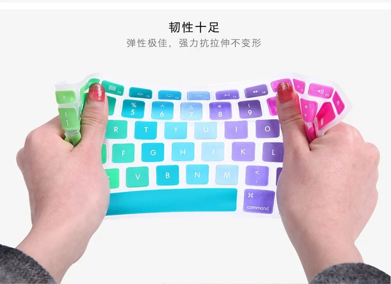 2020 Rainbow Us English Letter Colorful Silicone Keyboard Cover for MacBook Air 12 //New 2016 Pro 13 Non Touch Bar A1708