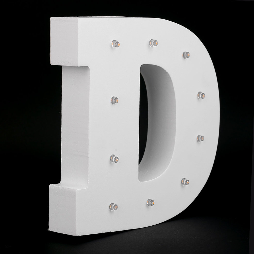 5pcs D-Shape Wooden Alphabet LED Night Light Festival Lights Party Lamp Wall Hanging