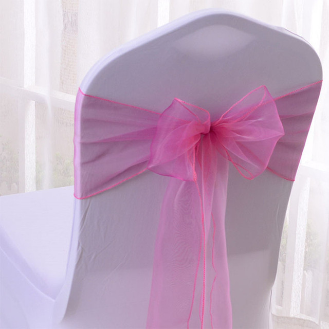 Wedfavor 100pcs Hot Pink Organza Chair Sashes Wedding Bow Sash Banquet Ties For Hotel