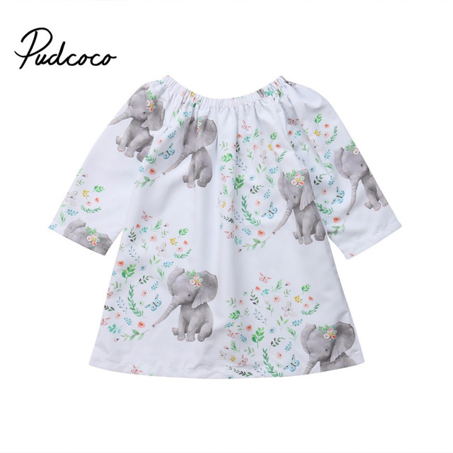 d40e5f37789e Love Toddler Kids Baby Girl Floral Elephant Dress Long Sleeve A-line  Princess Girls Holiday Party Dresses Clothes