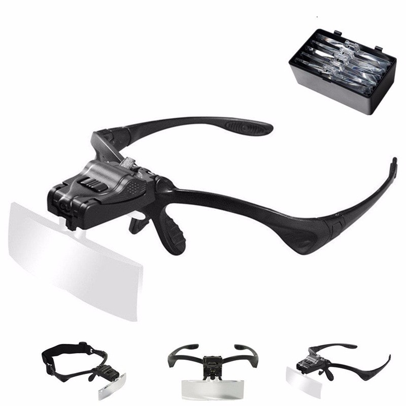1.0X 1.5X 2.0X 2.5X 3.5X Adjustable 5 Lens Loupe LED Light Headband Magnifier Glass With Lamp