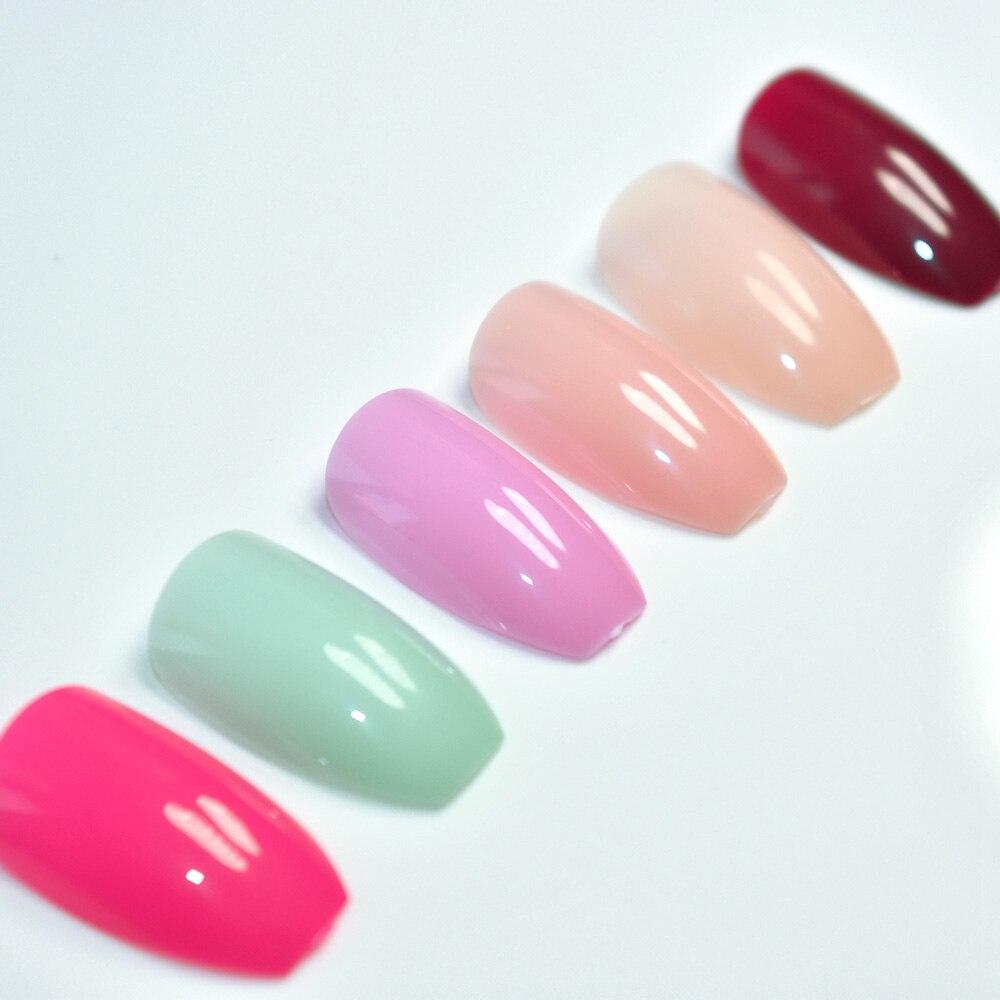 6 sätze Candy Farbe Sarg Nägel Kunst Tipps Falsche Nagel Nude lila ...