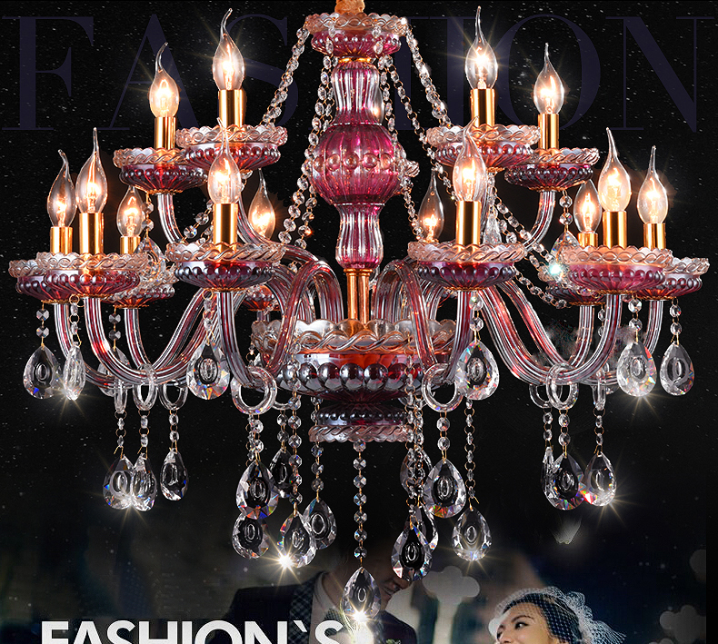 Luxury 6 8 10 15lights Purple red wine crystal chandelier Fashion lustres de cristal villa bedroom