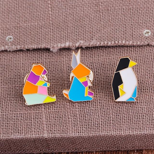 Купить милые жесткие эмалированные булавки в виде животных оригами