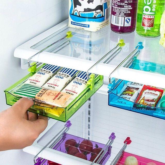 Slide Cozinha Prateleira Rack de Armazenamento Titular Organizador Saver Espaço Frigorífico Congelador