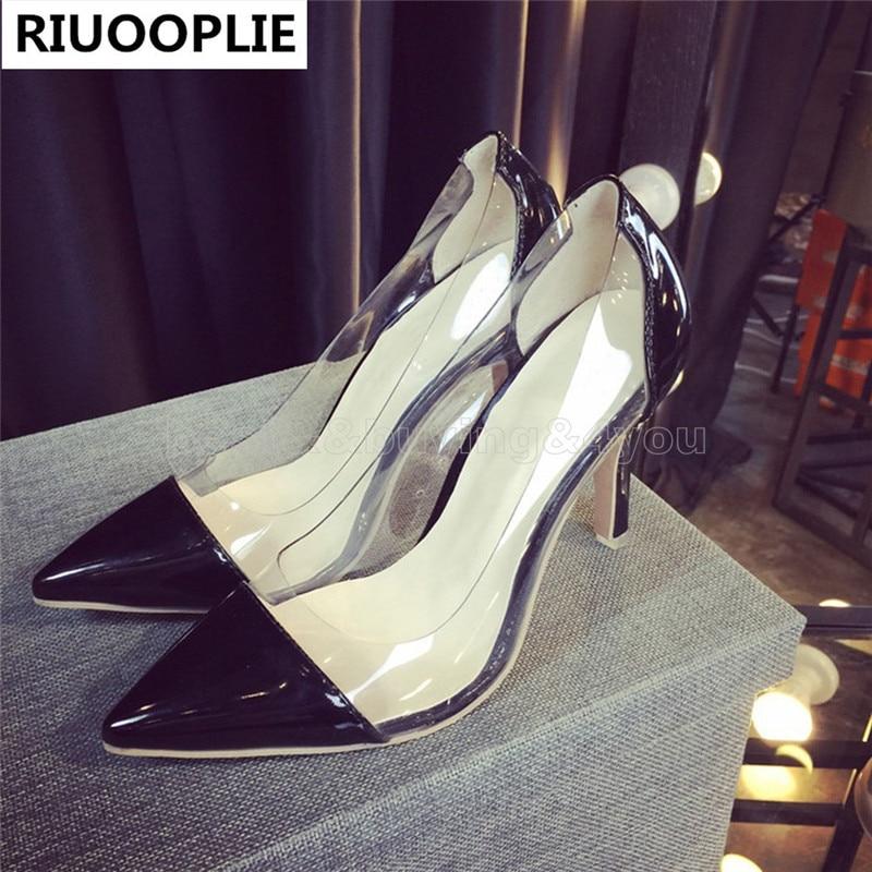 где купить  RIUOOPLIE Women's High Heel Sandals Pointed Toe Stiletto See-through Shoe Pumps Red Botto  по лучшей цене