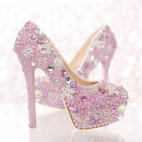High Heels Popular Formal Shoes Gorgeous Rhinestone Pumps Beautiful Lavender Purple Pearl Bridal Shoes Special Event