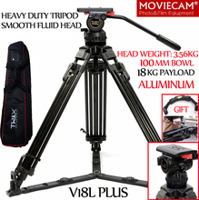 TERIS V18L Aluminum Heavy Responsibility Skilled Video Digicam Tripod Legs With 100mm Bowl Fluid Head For RED C300 BMCC Tilta Rig