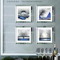 Fashion wall mirrored photo frame modern square combination photo frame mural wall decorative glass mirror picture frame art