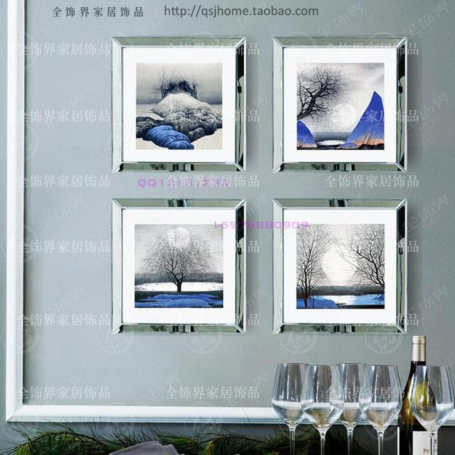 fashion wall mirrored frames modern combination photo frame wall mural wall decorative glass mirror frame picture - Mirrored Frame