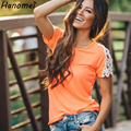 Nueva Solid Algodón Ahueca Hacia Fuera Crochet de Manga Corta de Las Mujeres T camisa 2017 Del Verano Llanura Camiseta Floja Patchwork Tee Shirts Femme C666