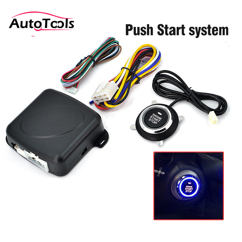 Autostart Car Stop Engine System Push Button Keyless Entry System 12v Car Alarm Sysem Start Stop Button