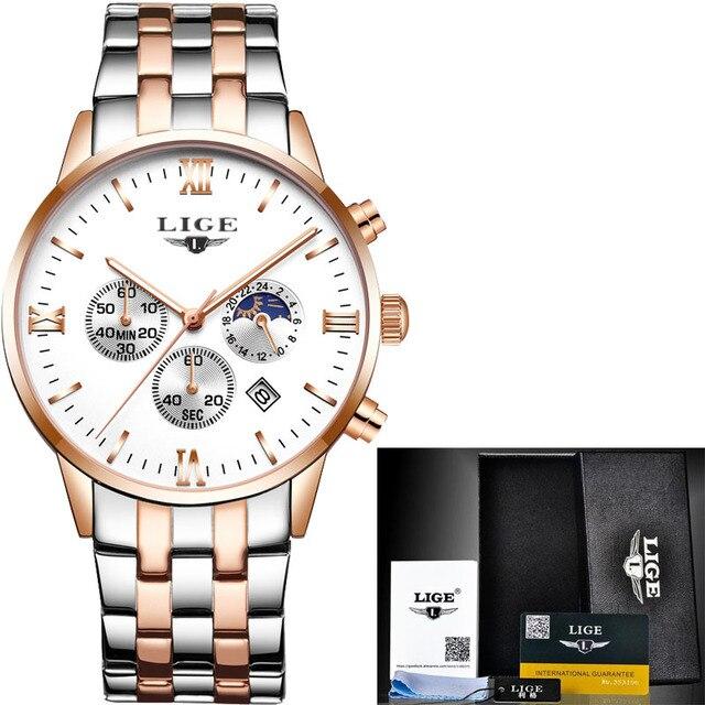 Lige Uhr Männer Quarz Uhr Luxus Marke Herren Uhr Wasserdichte Uhr