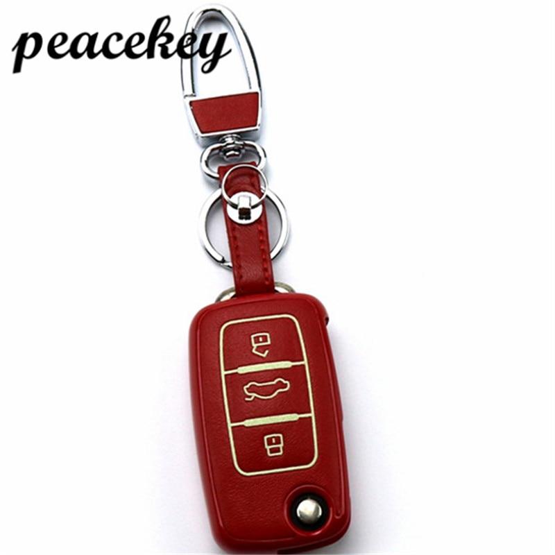 Peacekey Leather Car Key Cover Case For VW Skoda Seat Octavia A5 A7 Rapid Fabia Superb Citigo Yeti Jetta Passat CC