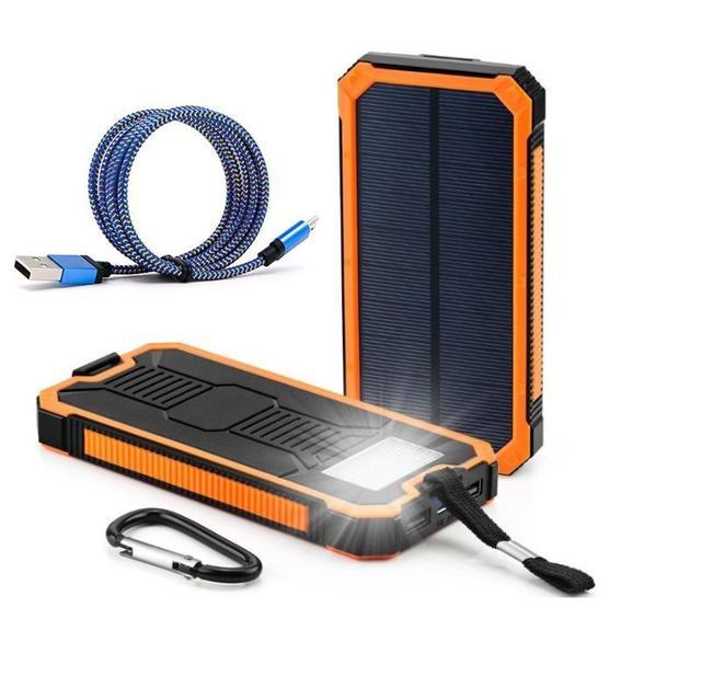 DCAE Водонепроницаемый 12000 МАч Солнечной Энергии Банк Солнечное Зарядное Устройство Dual USB Power банк с Светом ВОДИТЬ для iPhone 6 7 Plus для Samsung телефон
