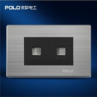 Free Shipping POLO Luxury Wall Socket Panel Computer Telephone Socket Champagne Black Power Electrical Outlet Plug