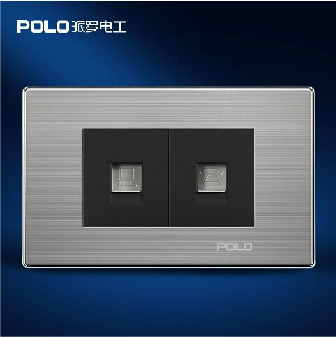 Free Shipping, POLO Luxury Wall Socket Panel, Computer+Telephone Socket, Champagne/Black, Power Electrical Outlet,Plug, 110~250V new 3u ultra short computer case 380mm large panel big power supply ultra short 3u computer case server computer case