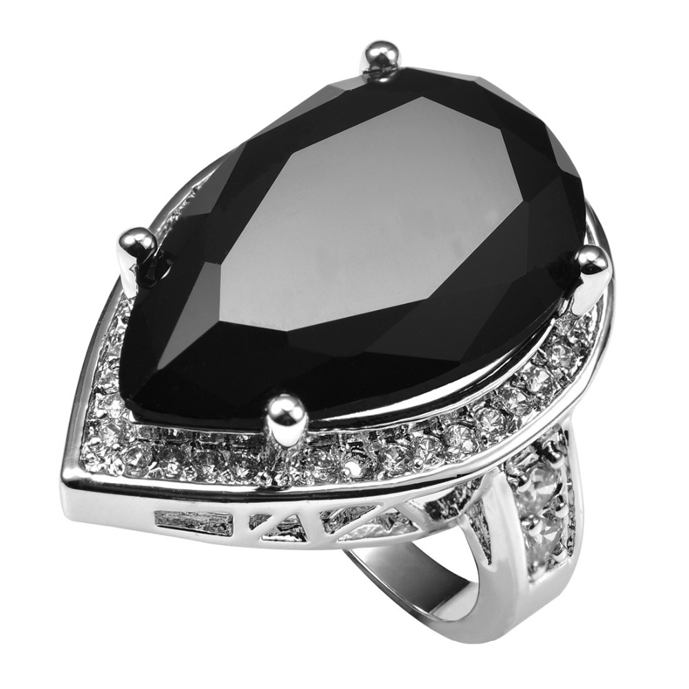 Hatalmas fekete ónix többfehér kristály cirkónium 925 ezüst gyűrűvel Gyári ár a nők számára Méret 6 7 8 9 10 11 F1503