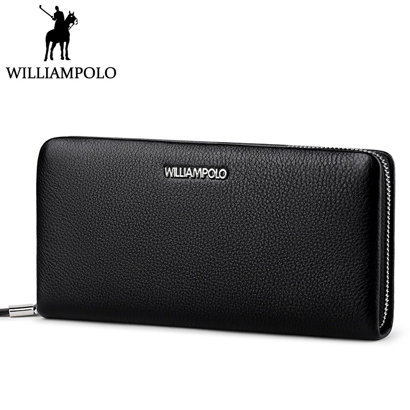 WILLIAMPOLO Zipper Wallet Men Leather Genuine Clutch Wallet Long Fashion Male Purse Cow Skin Men's Gift 2018 Husband Clutches sammons brand new design fashion genuine cow real leather men long zipper clutches cards phone holder wallet