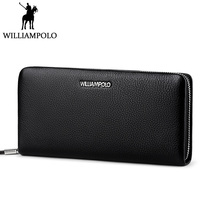 WILLIAMPOLO Zipper Wallet Men Leather Genuine Clutch Wallet Long Fashion Male Purse Cow Skin Men's Gift 2018 Husband Clutches