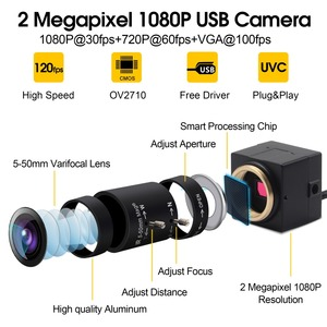 Image 2 - מלא hd 1080P USB Webcam 5 50mm Varifocal CMOS OV2710 30fps/60fps/120fps תעשייתי usb מצלמה UVC עבור מחשב מחשב מחשב נייד