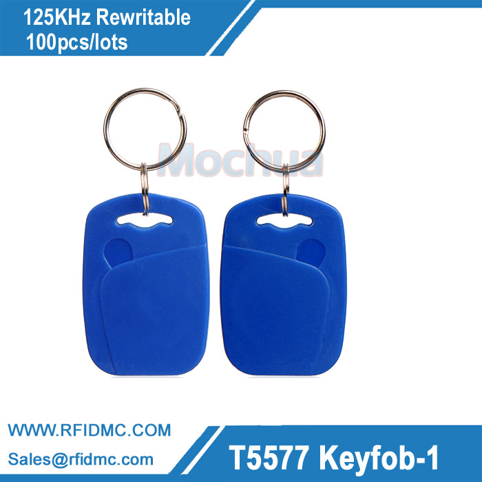 100pcs 125Khz Rewritable RFID Proximity ID Keyfobs T5567 T5577 T5557 with Metal Ring Free shipping