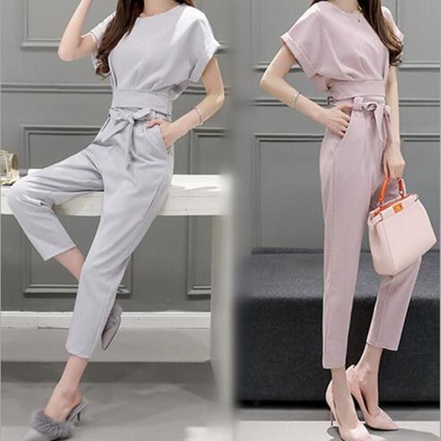 2016 verão nova edição korea mulheres two-piece ternos moda lápis calças + t-shirt de manga curta magro roupas femininas conjunto