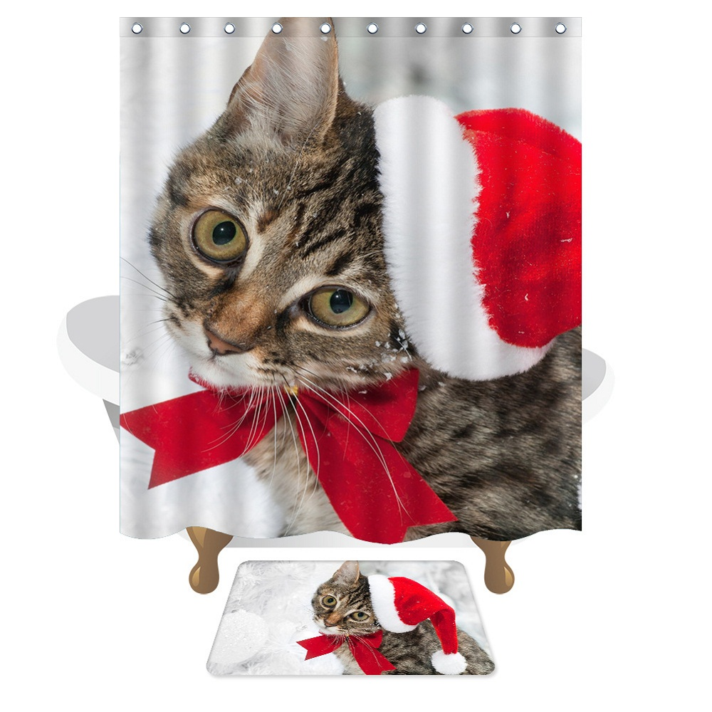 With 12 Pcs Hook 150x180cm American Style Christmas Cat Shower Curtain  Waterproof Mildew Eco Friendly Bathroom Curtain In Shower Curtains From  Home U0026 Garden ...