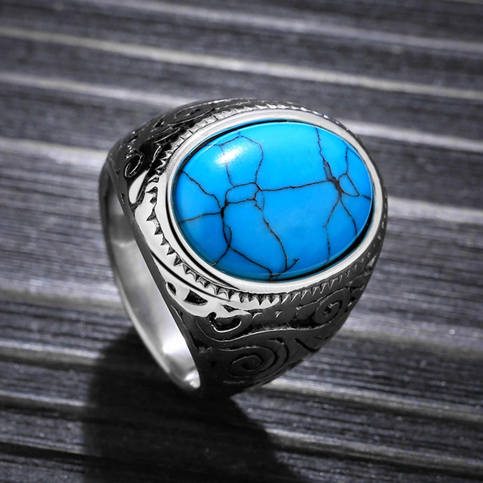 Jiayiqi винтажное мужское кольцо с синим камнем полированная нержавеющая сталь мужские ювелирные изделия цвет серебра талисман кольцо для мужчин Высокое качество