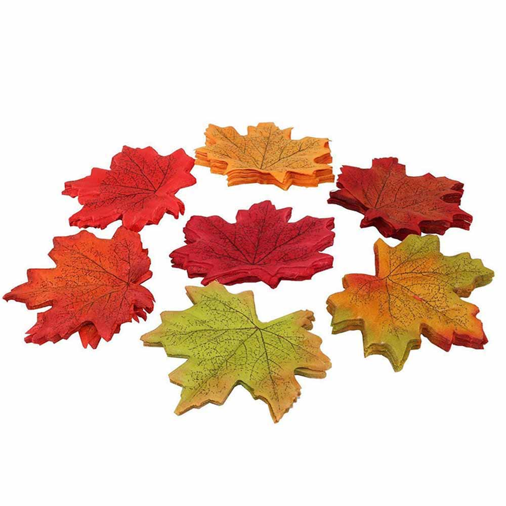 Fashion Fall Silk Leaves Wedding Party Favor Autumn Maple Leaf Decoration 50PCS