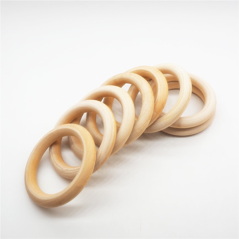 Chenkai 10pcs 70mm 2.75'' Baby Wooden Teether Ring Nature Wooden Teething Infant Shower Pacifier Dummy Chewing Sensory 7cm Toy