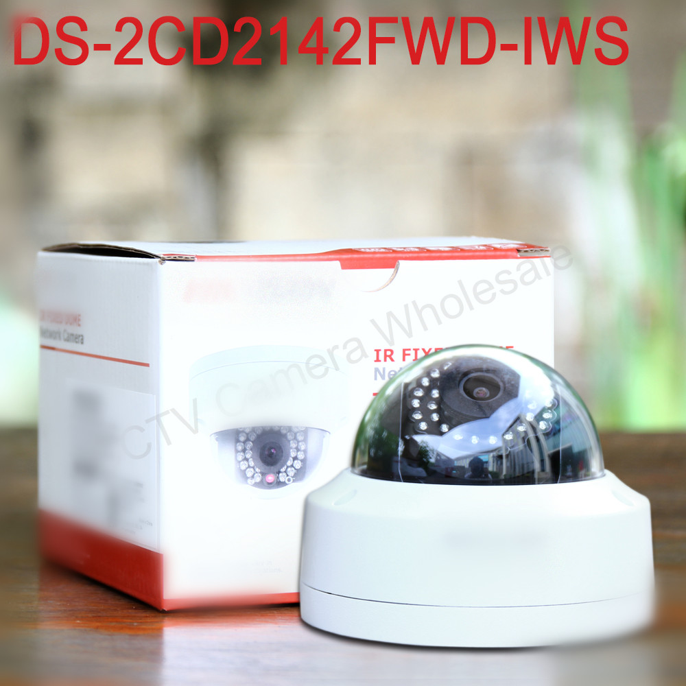 In stock english version DS-2CD2142FWD-IWS 4MP WDR wireless dome CCTV camera with Fixed lens Network ip Camera POE wireless ip camera hikvision ds 2cd2142fwd iws 4mm 4mp wdr poe dome cam security camera wifi monitor english version upgradable