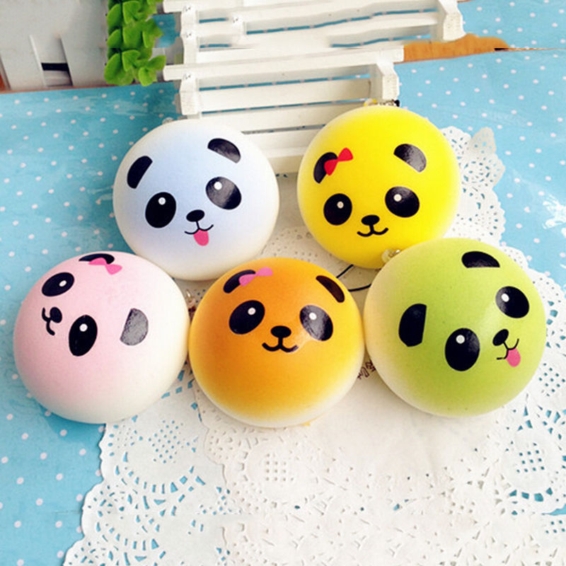 Cute Cartoon Face Squishy Panda Buns Panda Squishies Super Slow Rising Fruits Scented Squeeze Stress Relief Toys Bread Simulatio