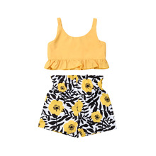 Summer Toddler Kid Baby Girl Clothes Sling Top Vest Sassy Dasiy Shorts Outfit цена